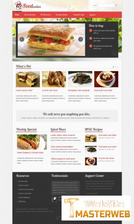Кулинарный Joomla 3.0 шаблон VT Food + PSD